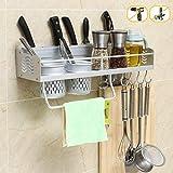 Joyfamy Ohne Bohren Küchenregal Messerschlitze mit 2 Becherhalter, Raum Aluminium Wand-Küche Lagerung Gewürzregale mit 8 Haken