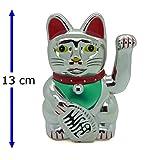 13cm Winkekatze Silber Glückskatze Katze Maneki Neko Glücksbringer Deko 255 D - Starlet24
