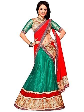 Naari Collection Women Net Ceremony Lehenga Choli(7131-Green)