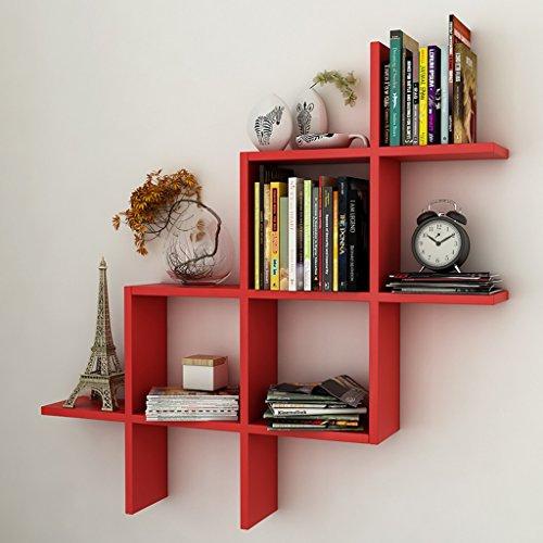 Mensole da Parete Mensola in legno massello per soggiorno parete camera da  letto decorazione separatore libreria (Colore : Rosso)