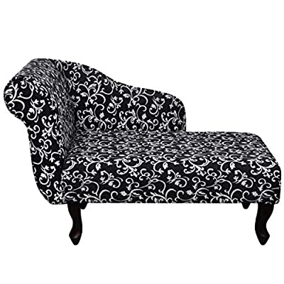 Fauteuil méridienne imprimé floral noir Couleur: Noir Matériaux: Cadre en bois + tissu de haute qualité Dimensions total: 104 x 51 x 69,5 cm (L x l x H) Largeur du siège: 83 cm Profondeur du siège: 47 cm Hauteur du siège ( à partir du sol): 37 cm Hau... [Méridienne]