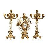 Design Toscano PD92008 Ensemble d'horloge/candélabres design Les Vendanges des Chérubins Ivoire 20,5 x 20,5 x 47 cm