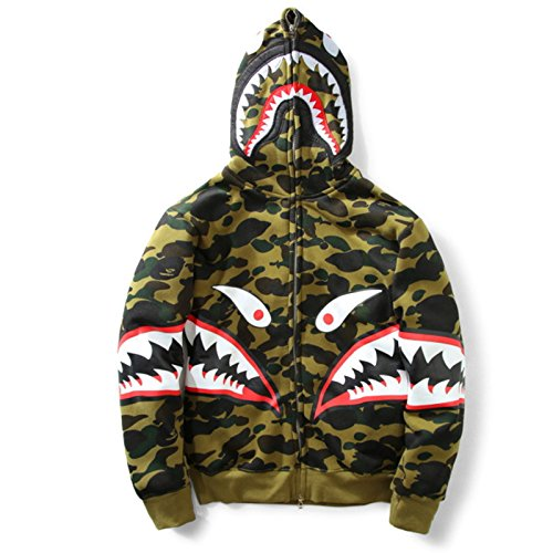 Herren Camouflage Kapuzesweatshirt Mantel Lange Hoodie Hooded Mantel mit Samt