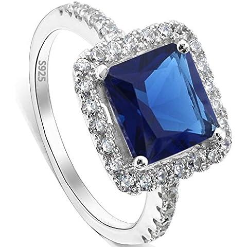 Argento Sterling 925 Ever Faith Princess Cut Zaffiro Colore CZ settembre Birth stone Ring
