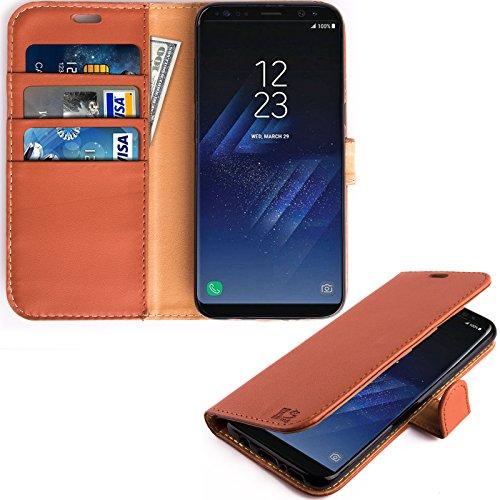 Samsung Galaxy S8 Hülle, KingShark [Ständer Funktion] Samsung Galaxy S8 Schutzhülle, Premium PU Leder Flip Tasche Case mit Integrierten Kartensteckplätzen und Ständer für Samsung Galaxy S8-Leder Serie braun