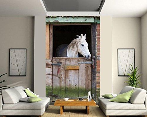 stickersnews Fototapete, Déco Große Breite Pferd Stall Dimension–1,40x 2,20m