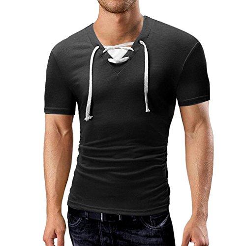 Dünnes Hemd Herren Sommer Bandage T-Shirt V-Ausschnitt Kurzarm Top Lässige Bluse GreatestPAK,Schwarz,XL