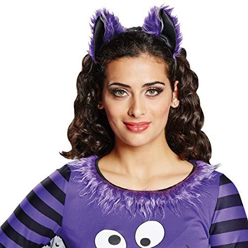 Kopfbedeckung Elmo Kostüm - NET TOYS Fledermaus Haarreif | Schwarz-Violett | Ausgefallenes Damen-Accessoire Kopfschmuck Blutsauger | Ideal für Mottoparty & Horror-Party