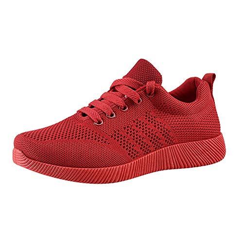 Sneakers Damen Xinantime Sportschuhe Damen Schnürer Sneaker Stretch Stoff Einfarbig Sportschuhe Laufschuhe Turnschuhe Freizeitschuhe 35-40