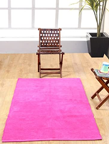 Homescapes waschbarer Chenille Teppich Vorleger 45 x 70 cm aus 100% reiner Baumwolle, Farbe: pink, pflegeleicht und