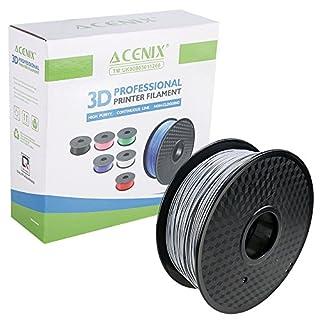 ACENIX® Silver PLA 3D Printer Filament, 1 kg Spool, 1.75 mm, Dimensional Accuracy +/- 0.03 mm 1KG [2.2 LBS] Spool 3D Filament for 3D Printers & 3D Pens