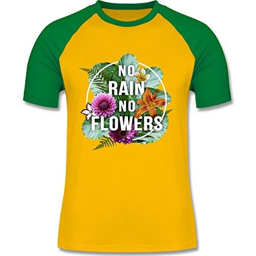 Blumen & Pflanzen - No Rain No Flowers - zweifarbiges Baseballshirt für Männer Gelb/Grün