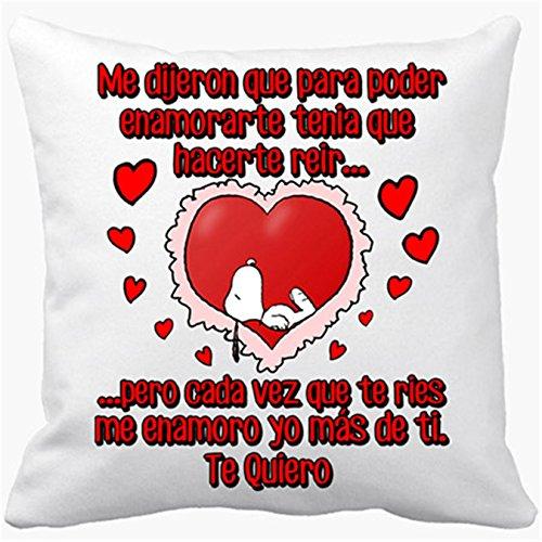 Cojín con relleno frase de amor me enamoro yo más de ti te quiero - Blanco, 35 x 35 cm