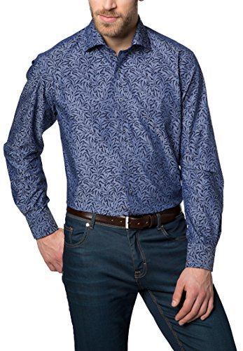 Eterna Long Sleeve Shirt Modern Fit Chambray Printed Blu marino