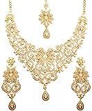 Touchstone Set di collana di gioielli da sposa firmati da bollywood indiano, dall'aspetto reale tradizionale, intagliati a filigrana e perle finte per donna Gold-1
