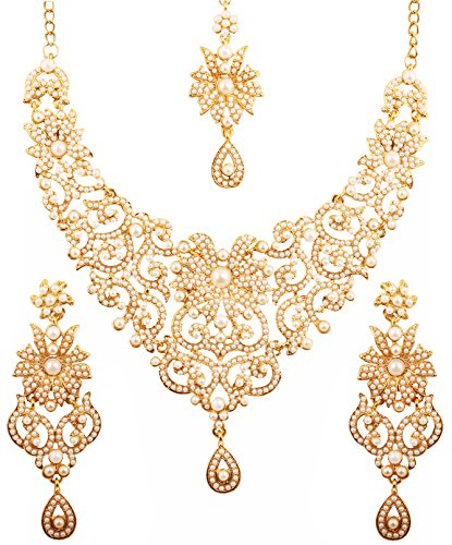 Schmuck-Set für Frauen von Touchstone, filigranes Design, künstliche Perlen, Designer-Brautschmuck, Halsketten-Ohrring-Set für Frauen, in antikem Goldton ()