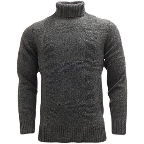 Maglioni Da Uomo Ben Sherman Roll collo lavorato a maglia maglione invernale Maglieria Grey X-Large