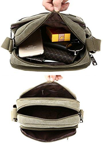 Tibes Leinwand Crossbody Tasche Messenger Bag Casual Schultertasche British Style für Männer Braun