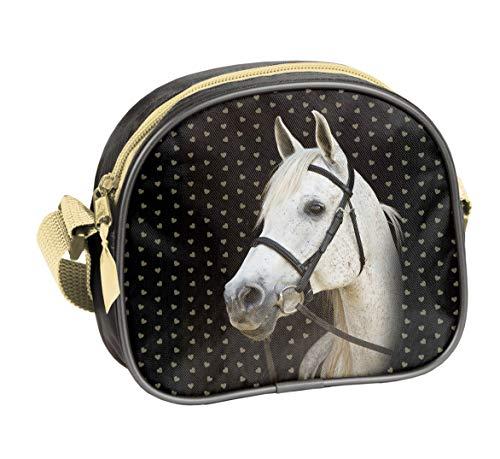 Ragusa-Trade Pferde Fan Mädchen Kinder - Handtasche Schultertasche Umhängetasche (401HS), schwarz/Gold, 17 x 15 x 5 cm - Kind Handtasche