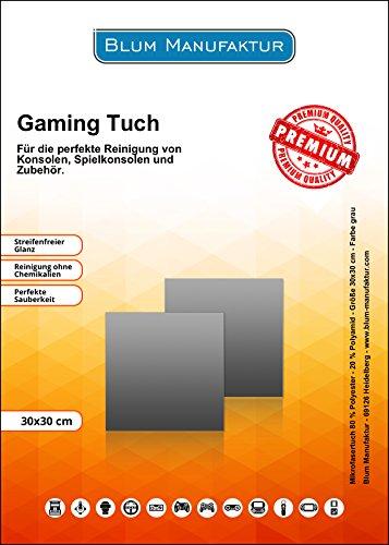Blum - 2x Game Cleaner 30x30 cm Mikrofasertuch grau - Perfekte Reinigung von Controller / Konsolen /...