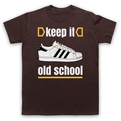 Keep It Old School Retro Superstar Slogan Herren T-Shirt Braun
