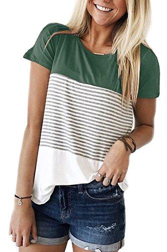 Tshirt Damen Kurzarm T-Shirt Streifen Lässig Hemd Tops mit Rundhals Grün S (T-shirt Streifen)