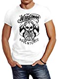 Neverless Herren T-Shirt Lumberjack Woodsman Hipster Bart Beard Skull Totenkopf Slim Fit weiß L