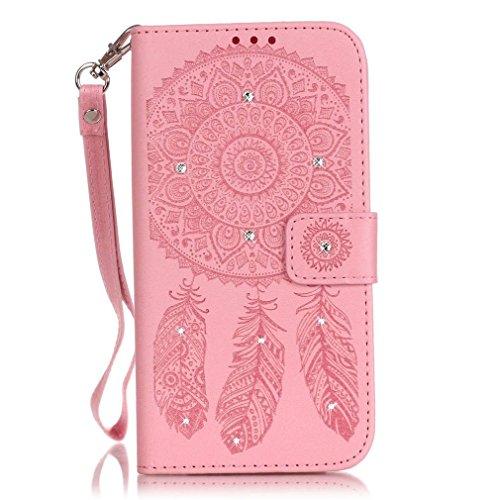 SZHTSWU Hülle für iPhone 6 Plus/6s Plus, Magnetverschluss Campanula Embossing Blumen Series mit Lanyard Strap Design PU Leder und Bling Strass Glitter Tasche Weiche Silikon Schutzhülle Flip Hülle Wall Pink