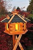 Vogelhaus Futterhaus Vogelvilla mit Solarbeleuchtung und Silo klein und Groß verschiedene Farben V16 (Schwarz, groß mit Ständer), Vogelfutterhaus