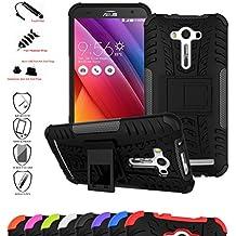 Asus Zenfone 2 Laser 5.0 Funda,Mama Mouth Heavy Duty silicona híbrida con soporte Cáscara de Cubierta Protectora de Doble Capa Funda Caso para Asus Zenfone 2 Laser 5.0 ZE500KL,Negro