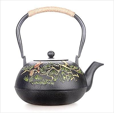Théière en fonte japonaise Moule à la menthe à la main faite à la main sans motif à la menthe, modèle 1,2L, avec filtre