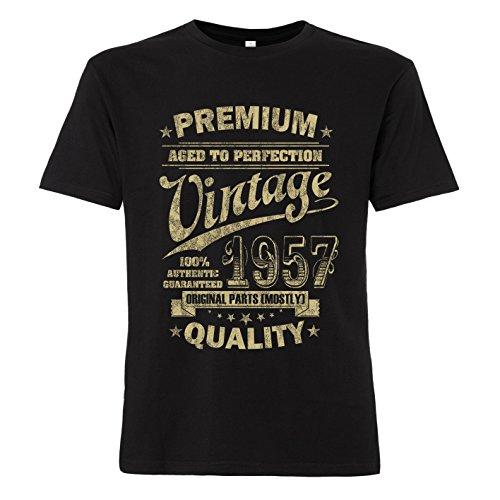 ShirtWorld Aged to Perfection 1957 Zum 61. Geburtstag - T-Shirt Schwarz