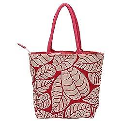 Utsav Kraft Pink Leaves Designer Jute Bag, Womens Jute Shopping Bag, Grocery bag, Gift bag, Trendy jute bag, print designer jute bag, Lunch bag, Handbag for Ladies Girls, Jute Crafts