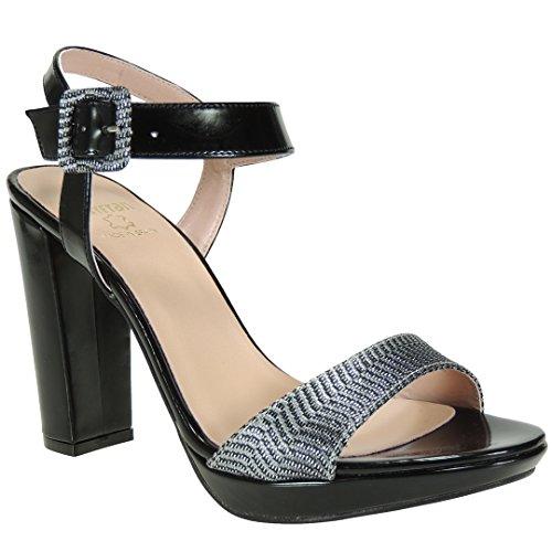 MAYFRAN - Zapato Sandalia Fiesta Tacón 11Cm y Plataforma de 2.5Cm -...