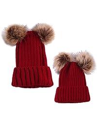 MagiDeal 2pz Cappello Caldo Del Beanie Maglia Crochet Cappellini per Mamma  e Neonato a653cbac9ea3