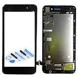 Wigento Display LCD Komplett Einheit mit Rahmen für Huawei Y6 Reparatur Schwarz + Werkzeug Opening Tool