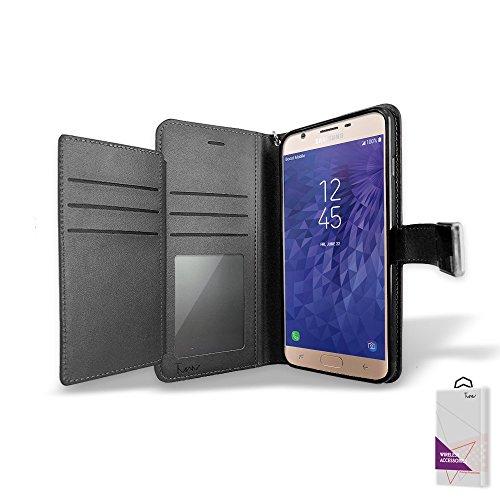 Für Samsung Galaxy J3Erreichen Fall, Samsung Galaxy J3Star 2018Fall, durch [T Man] Leder [Double] Wallet Card Slots Cover Fall für Samsung Galaxy J3Erreichen J3/Star/sm-j337, schwarz (Cricket Phone Wireless Card)