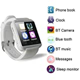 Yuntab móvil U8 Reloje SmartWatch Bluetooth 3.0 Muñequera de silicona para Apple iOS iphone teléfono inteligente 4 / 4S / 5 / 5C / 5S / 6 Android Samsung S2 / S3 / S4 / Nota 3.2 Nota HTC Nokia. BLANCO