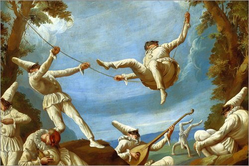Pulcinella Kostüm (Alu Dibond 120 x 80 cm: Punchinellos on Swings, making Music and doing Acrobatics in a Landscape von Giovanni Domenico Tiepolo / Bridgeman)