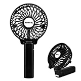 USB Ventilator ,Pomisty Mini Handventilator Batterie Tragbarer Mini Lüfter Elektrischer Faltbar Mini Fan mit Laptop, Multi Port Steckdose für Haus, Büro, Reise, Picknick, Kampieren, Innen und Außenbereich - Schwarz (Schwarz)