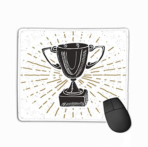 Mouse Pad Vintage Label Hand Drawn Sport Trophy Winners Prize Grunge Textured Retro Badge Typography Design Rectangle Rubber Mousepad 11.81 X 9.84 Inch