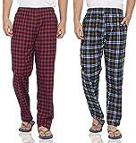#4: FflirtyGo Mens Pyjama Cotton Combo, 100% Cotton Export Quality Fabric, (Pack of 2) Sleep Pants, Pyjama for Men, Men's Leisure Wear, Night Wear Pajama – Red and Blue Combo Pack