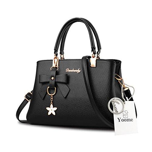 Sacchetti eleganti della borsa della maniglia del pendente del fiore di Yoome per le donne con i sacchetti casuali del pannolino - azzurro Nero