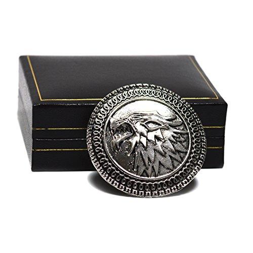Spilla a forma di scudo con stemma della Casa Stark, tratto dalla serie TV Il Trono di Spade adattamento dalla serie di romanzi