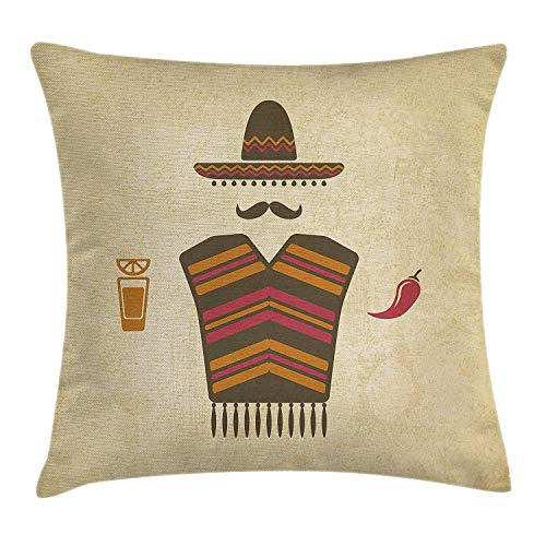 ZTLKFL Mustache Throw Pillow Cushion Cover, Authentic Mexican Conceptual Elements of Tequila with Lime Poncho and Chili Pepper, Decorative Square Accent Pillow Case, 18 X 18 inches, Multicolor
