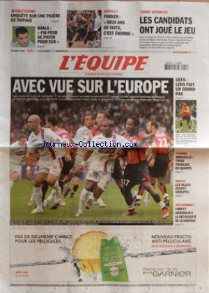 EQUIPE (L') [No 19224] du 16/02/2007 - ATHLETISME - ENQUETE SUR UNE FILIERE DE DOPAGE - BAALA - 'DE PAYER POUR EUXî BASKET - PARKER - 'DEUX ANS DE SUITEî, C'EST ENORME TOUS SPORTS - LES CANDIDATS ONT JOUE LE JEU AVEC VUE SUR L'EUROPE UEFA - LENS FAIT UN GRAND PAS - LENS - GRACE NOTAMMENT A DEUX BUTS DE JEMAA (CI-DESSUS), LES LENSOIS ONT DOMINE, HIER, LE PANATHINAIKOS (3-1) EN SEIZIEMES DE FINALE ALLER DE LA COUPE DE L'UEFA TENNIS - MARSEILLE : TROIS FRANCAIS EN QUARTS RUGBY - LES BLEUS JOUENT par Collectif