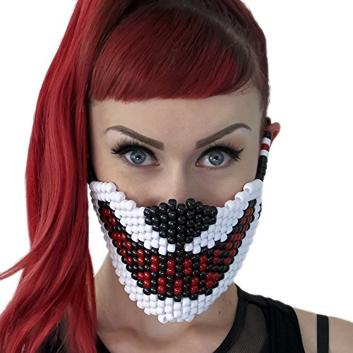 Big Bad White Wolf Red Teeth Kandi Mask by Kandi Gear, rave mask, halloween mask, beaded mask, bead mask for music fesivals and parties