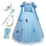 Monissy Mädchen Prinzessin Kostüm Eiskönigin ELSA Kostüm Kleid Kinder Verkleidung Cosplay Party Karneval Weihnachten Fest Geburtstag Geschenk Eisprinzessin Kleid Schneeflocke Blau