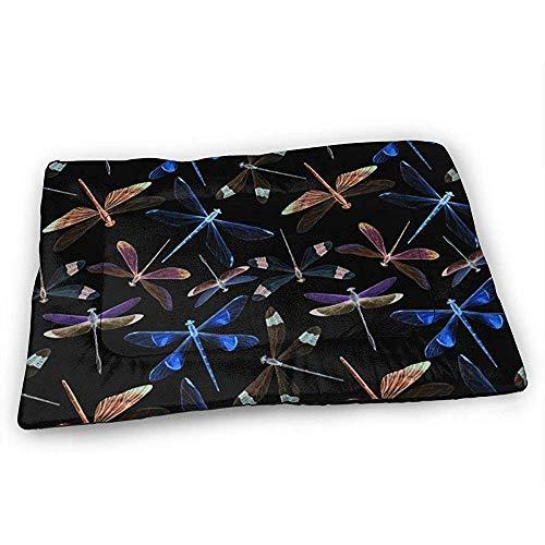 YAGEAD Aquarell Libellen Hundebett Matte mit wasserdichter Rutschfester Unterseite, waschbare Hundekistenmatte für schlafende Haustierpolster