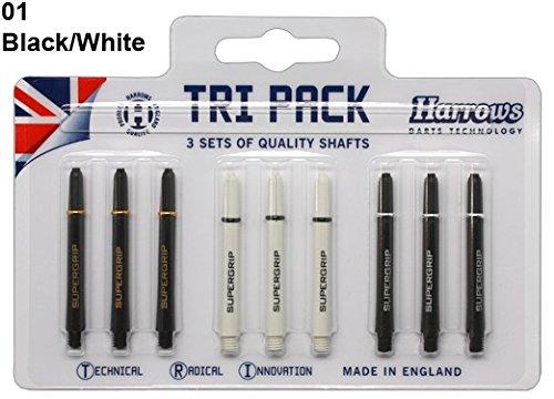 Tri Pack-3 Stück (Harrows Tri Pack Shafts - Weiss/Schwarz - Medium (MED), 3 Sets)